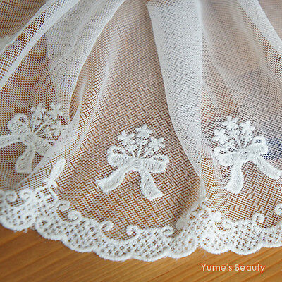 Embroidery Net Lace Border Trim Scalloped Edging Ribbon Bow & Flower Bunch