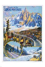 CHAMONIX FRANCE vintage train travel poster BRIDGE MOUNTAINS 24X36 prized
