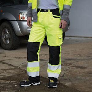 Result-Safe-Guard-Hi-Vis-Safety-Cargo-Trousers-Men-039-s-3M-Scotchlite-Pants-R327X