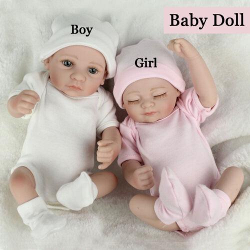 "11/"" Realistic Reborn Twin Girl Boy Dolls Vinyl Silicone Newborn Baby Toddler Toy"