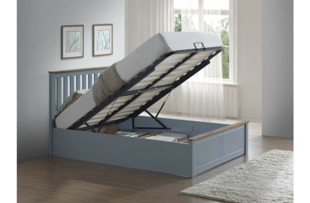 Phoenix Wood Ottoman Bed Frame Storage Small Double 4ft Stone Grey