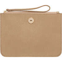 Oroton Melanie Large Zip Pouch Pale Gold Zip Clutch Wallet Purse Rrp $145