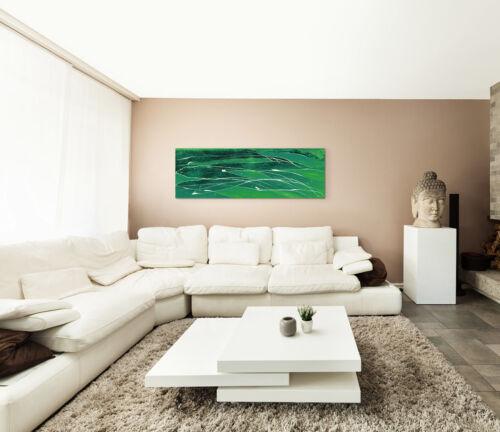 Leinwandbild Panorama grün schwarz weiß Paul Sinus Abstrakt/_689/_150x50cm