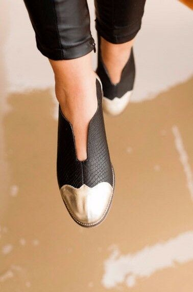 100% Leather Oxford Flat shoes Black gold Tie Woman Size 6 7 8 9 10 11 Handmade