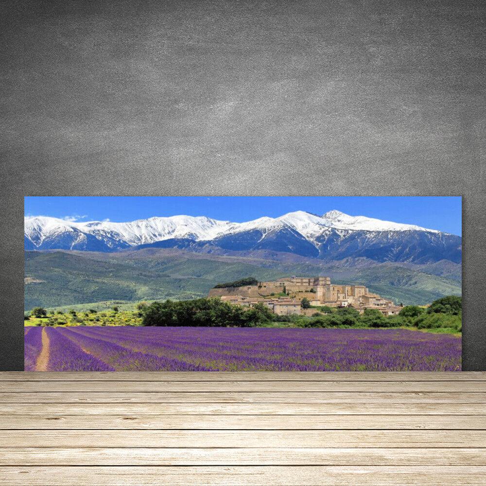Crédence de cuisine en verre Panneau 125x50 Paysage Prairie Fleurs Montagnes