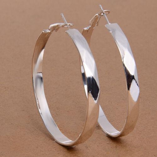 Fashion Women 925 Sterling Silver Crystal Dangle Hoop Earrings Stud Jewelry Hot