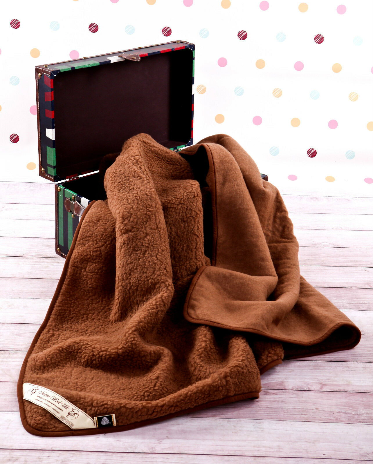 Sonderangebot! 100% Merino Wool Decke King Size Wolle Fleece 200 X 200 CM Brown