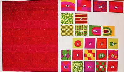 Marimekko Christmas calendar fabric, red 145x77cm