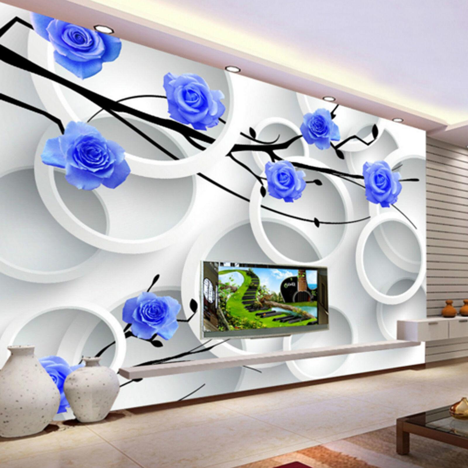 3D bluee Flower Wattle 4626 Wall Paper Wall Print Decal Wall AJ WALLPAPER CA