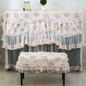Image Is Loading Fabric Pink Rose Lace Dust Proof Upright Piano