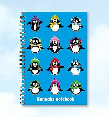 Personalised A5 Notebook Family Of Fun Penguins add any Name/text, buzzinvites