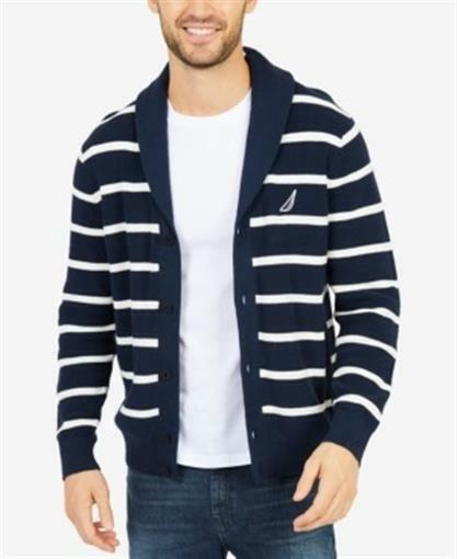 Nautica Stripe Shawl Collar Cardigan True Navy Mens XL New