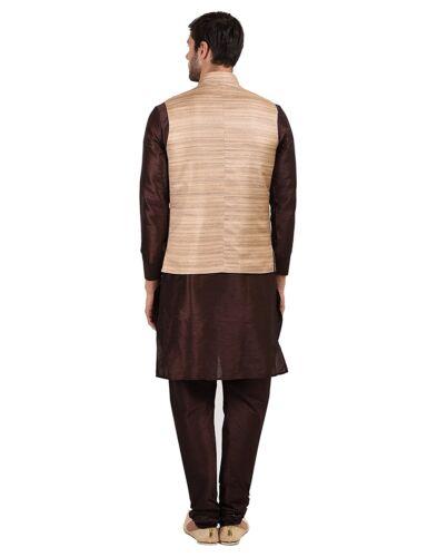 Men/'s Beige Silk Blend Kurta Pyjama With Brown Khadi Self Cotton Waistcoat Set