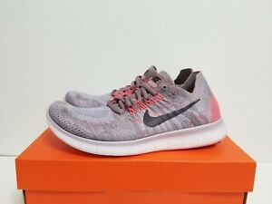 detailed look 3ebd8 3aefb Details about WMNS NIKE FREE RN FLYKNIT 2017 TAUPE GREY/PORT WINE-SOLAR RED  880844 200