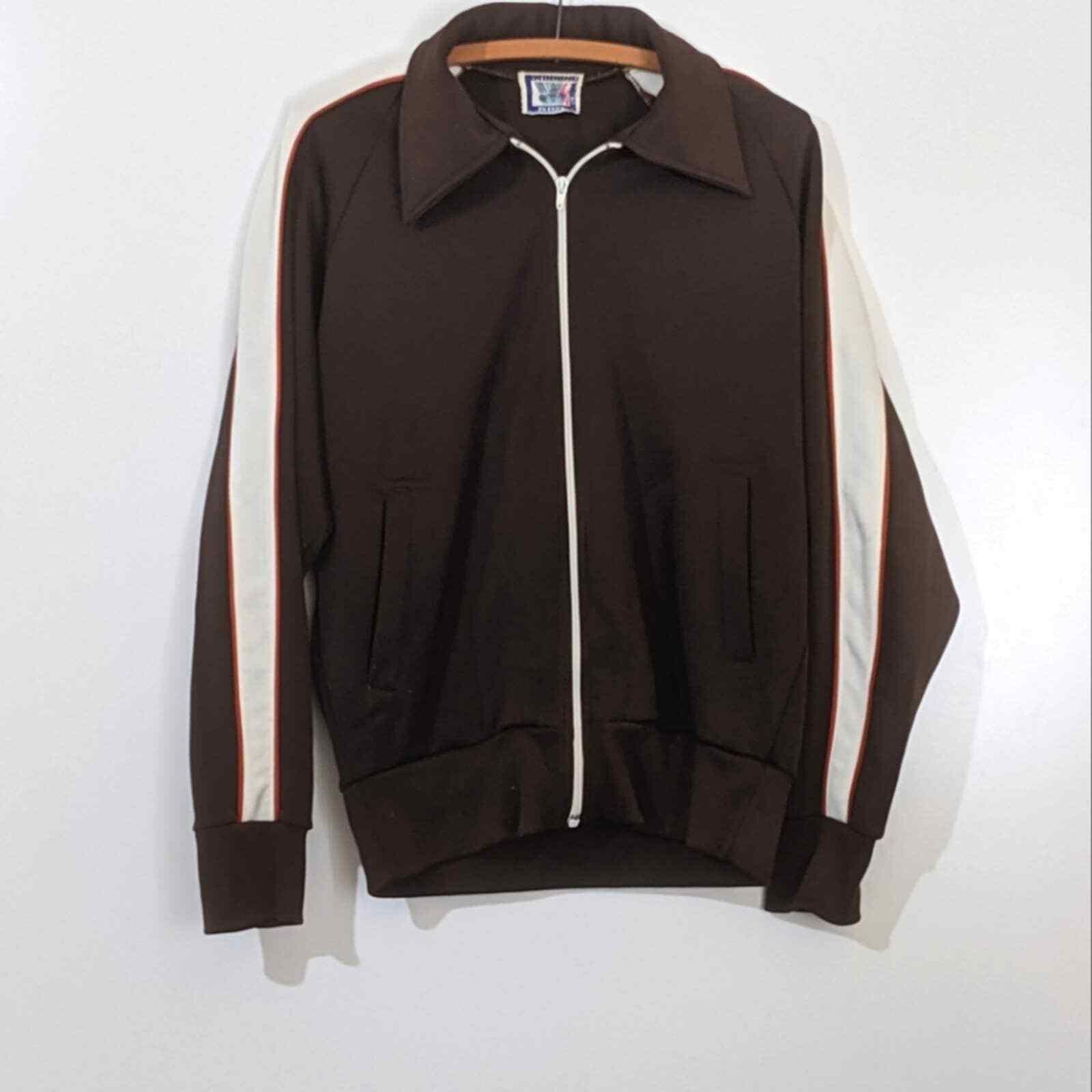 Vintage 1970s Brown Track Jacket Men's - image 1