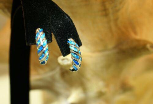 5.5MM HAWAIIAN RHODIUM 925 SILVER DIAGONAL WAVES INLAID BLUE OPAL STUD EARRINGS