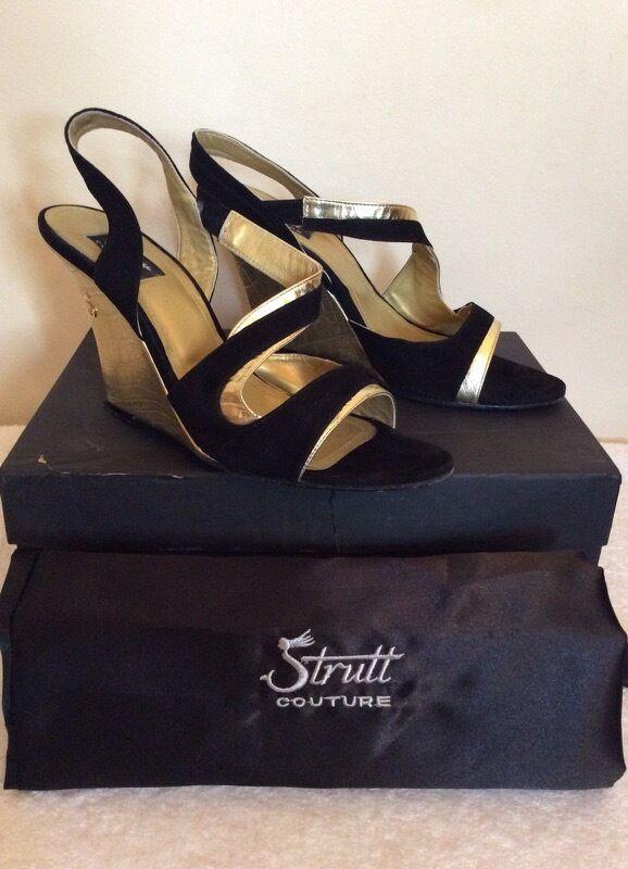 STRUTT Couture Neri in Pelle Pelle Pelle Scamosciata & GOLD ALL. dietro Tacchi Zeppa Misura 6/39 costo afcc23