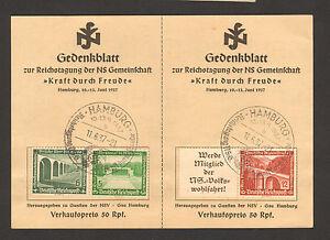 RARE-1937-STAMP-GERMANY-Gedenkblatt-KRAFT-DURCH-FREUDE-SST-Hamburg-10-6-37