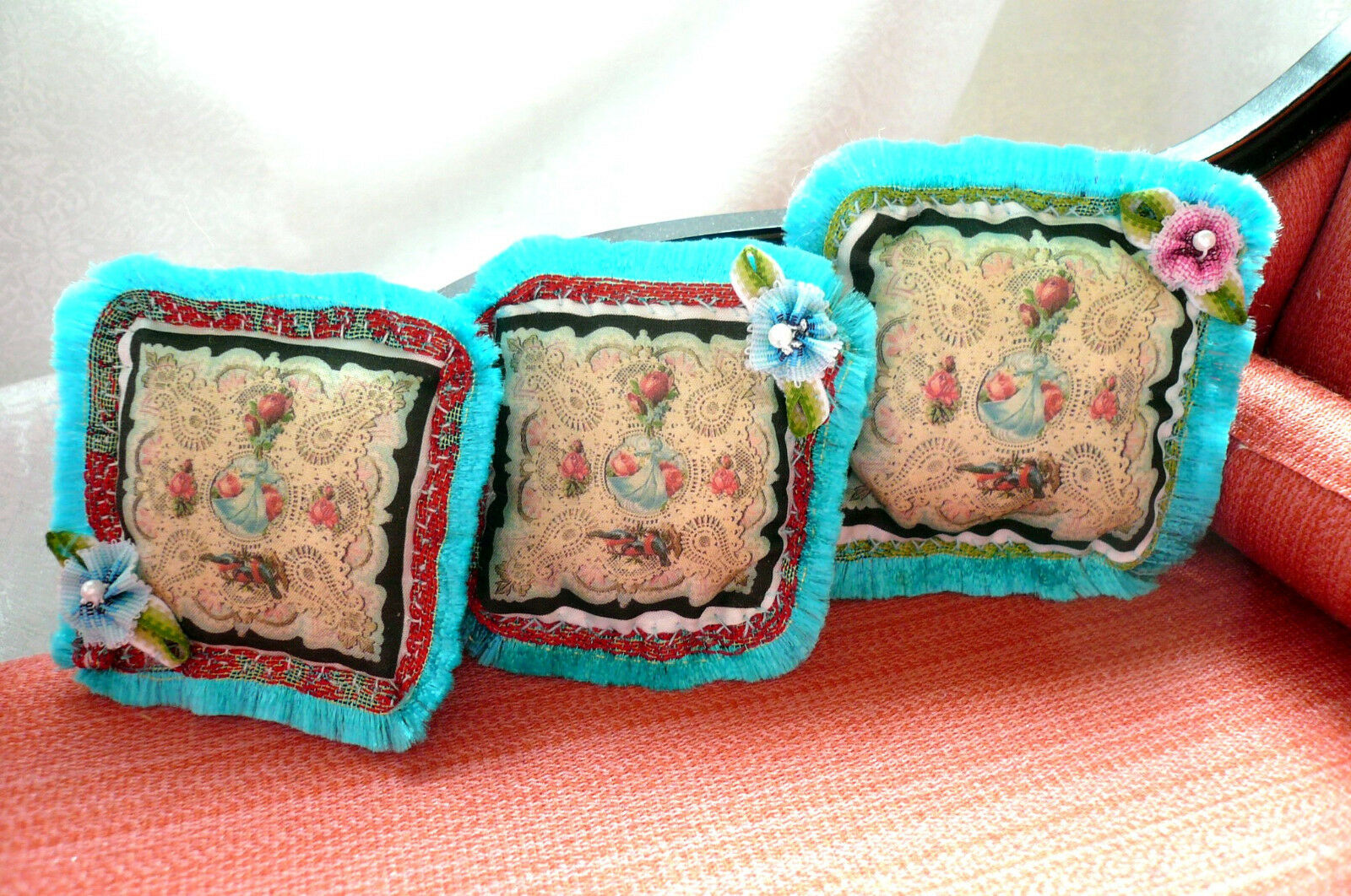 3 Rococo Victorian Dollhouse 1 6 or 1 12 Turquoise Fringed Silk Miniature Pillow