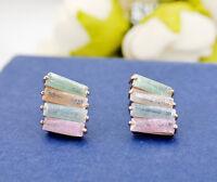 Women's 18K Rose Gold GF Multi Color Rainbow Crystal Ear Stud / Clip on Earrings
