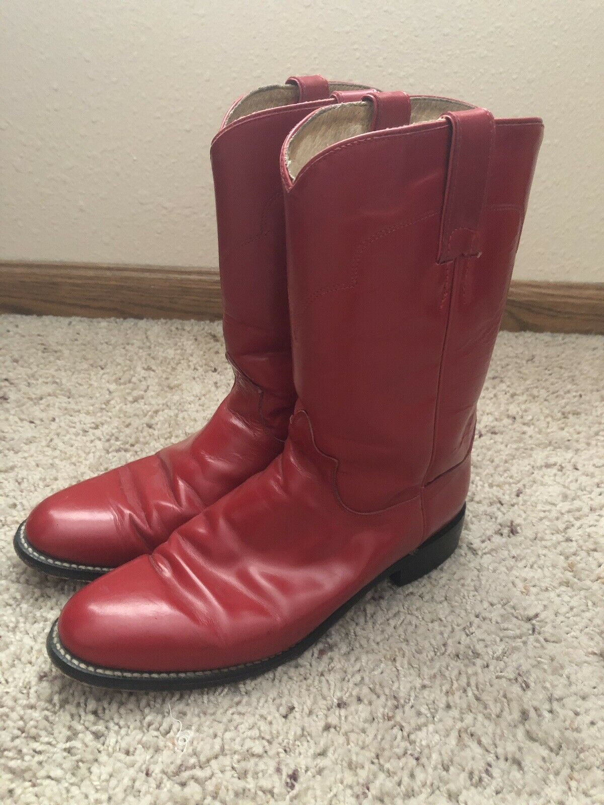 Tony Lama Antiguo Vintage para mujer Western Roper Rojo botas B