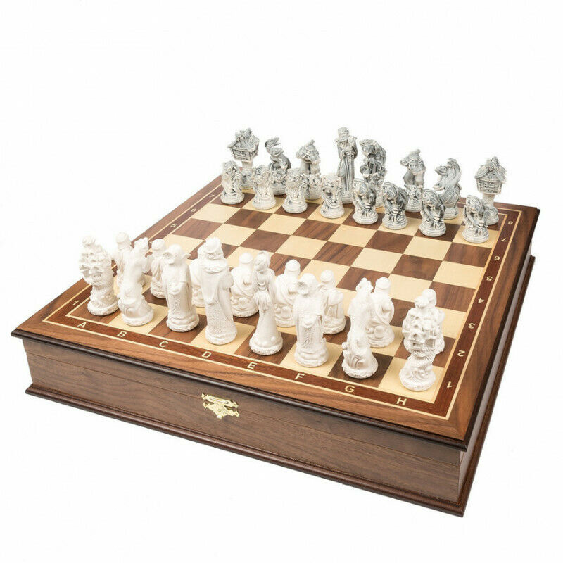 Chess Set Exclusive Russian  Fairy Tales  Wood, Cast Marble Made in Russia