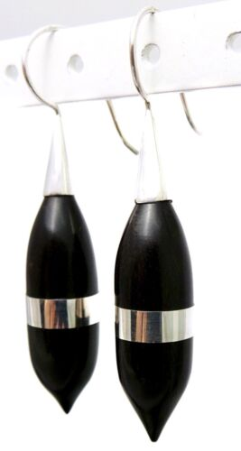 """7.47g SOLID 925 Sterling Silver Inlay Marquise Carved Black Wood Earrings 2.28/"""""""