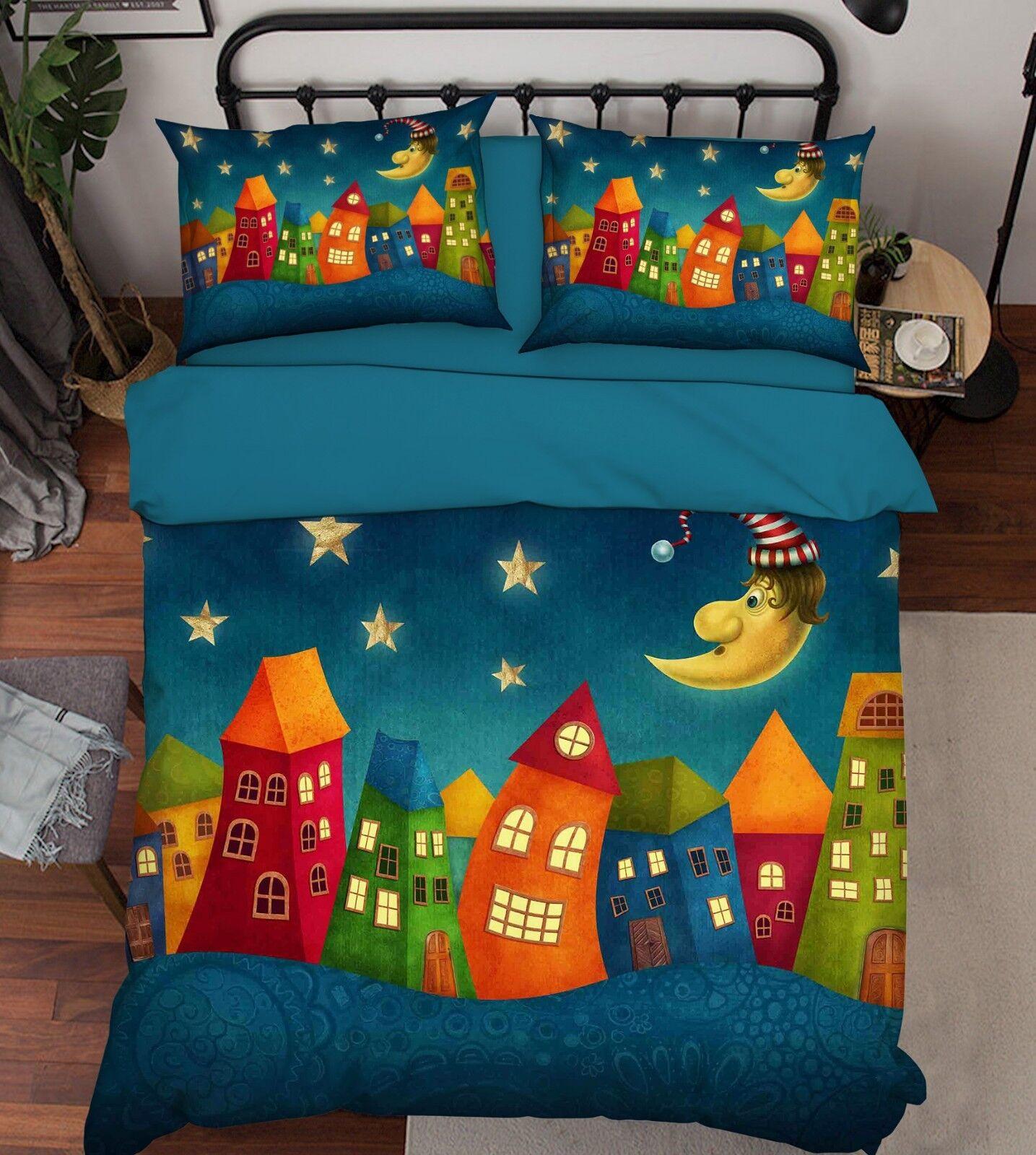 3D Kid House Moon 65 Bett Pillowcases Quilt Duvet Startseite Set Single König UK Summer