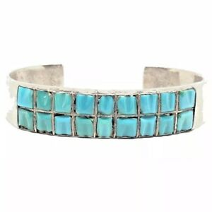 CARVED-Sterling-Silver-Turquoise-Inlay-ROW-Native-American-Cuff-Bracelet-Vintage