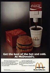 Details about 1975 MCDONALD'S Restaurant - Coca-Cola - Big Mac - Best Of  Hot & Cold VINTAGE AD
