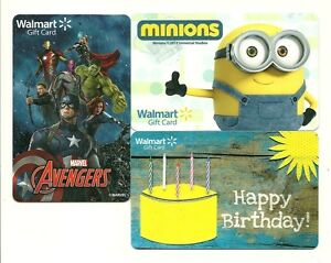Image Is Loading Lot 3 Walmart Gift Cards Minions Avengers Birthday