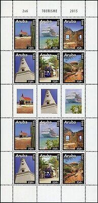 Briefmarken Europa Brillant Aruba 2015 Tourismus Toerisme Kirche Kreuzfahrtschiff 909-914 Kleinbogen Mnh