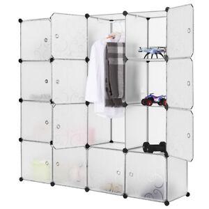 Détails Sur étagère De Rangement 16 Cubes Armoire Plastique Avec Porte Assemblage Facile Diy