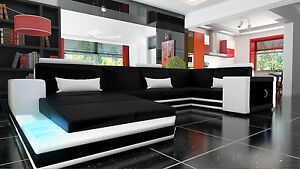 Ledersofa Ecksofa Sofa Couch Bettfunktion Garnitur Wohnlandschaft