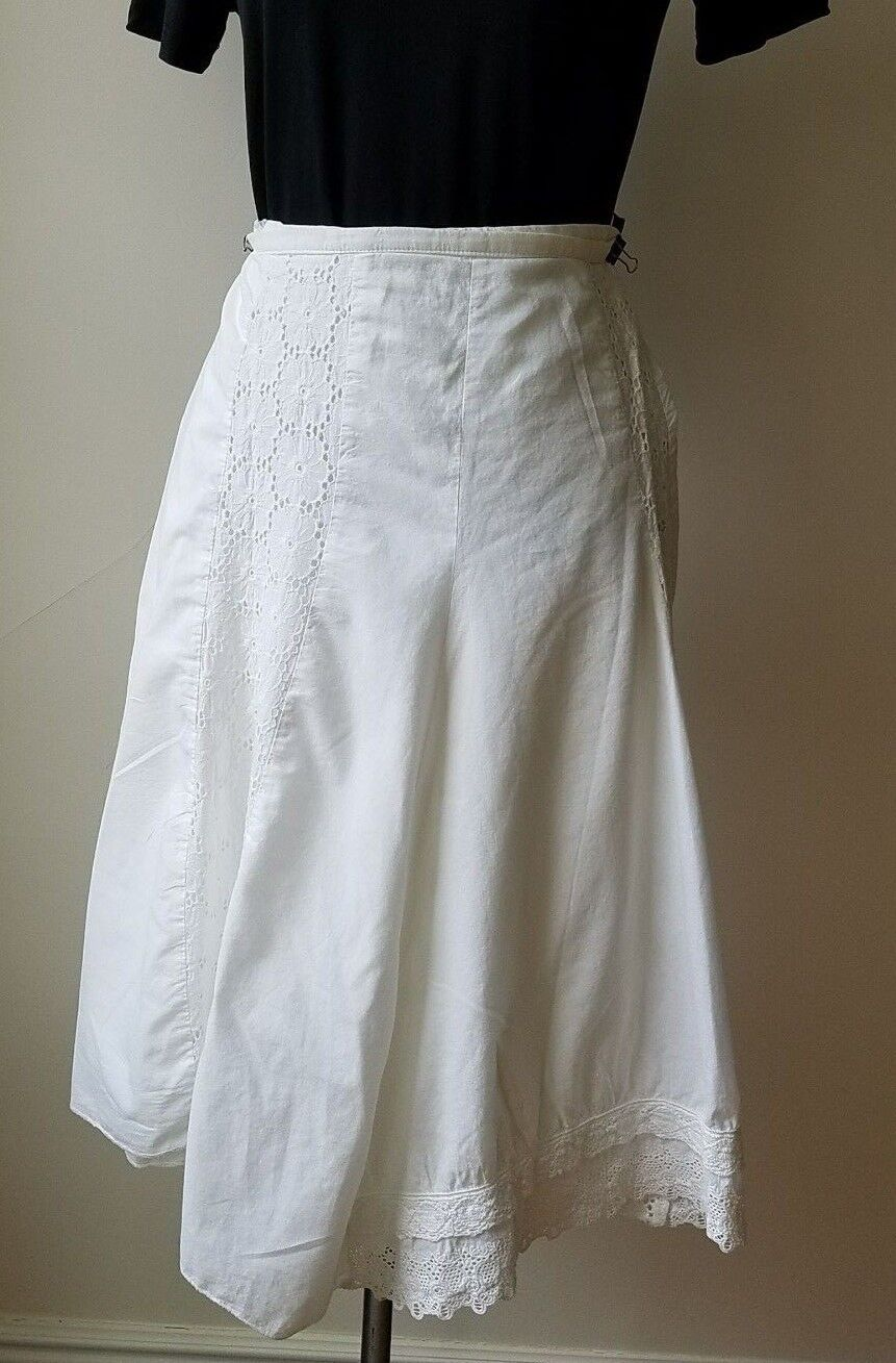 Maje Paris 'Napperon' Cut-out embroidery Ribbons Long Weiß Skirt Sz. Small