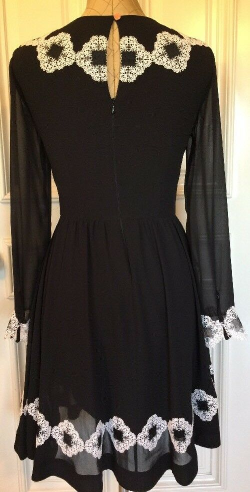 7939e46b7 Ted Baker London Avianah Applique Skater Dress Lace Trim Fit Flare O USA 2  for sale online