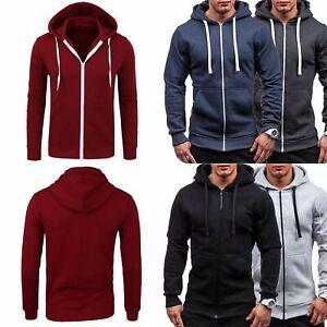 Mens-Slim-Fit-Plain-Hooded-Sweatshirt-Zipper-Hoodies-Sweater-Jacket-Coat-Tops