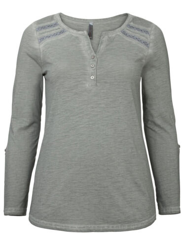 ref 330 SHEEGO LADIES PURE COTTON OIL-DYED LACE INSERT ROLL SLEEVE TOP GREY NEW