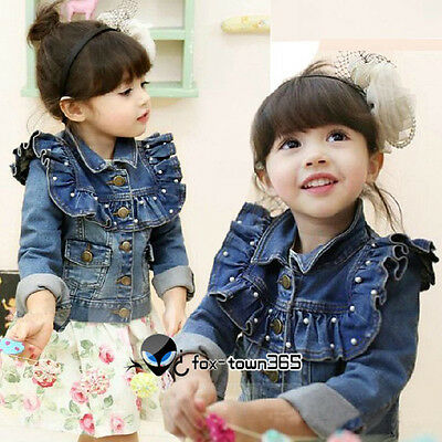 Autumn Kids Toddlers Girls Princess Flounced Style Pearl Jeans Coat Jackets 2-8Y