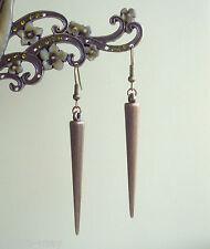 Antique Bronze Spike Long Dangly Drop Earrings ~ Vintage Boho