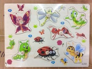 Party-Insects-Wooden-Peg-Puzzle-Educational-Toy-Gift-jl1