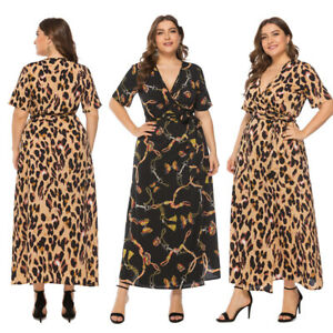 27b58a93a5 Plus Size Womens Leopard Print V Neck Wrap Maxi Long Casual Party ...