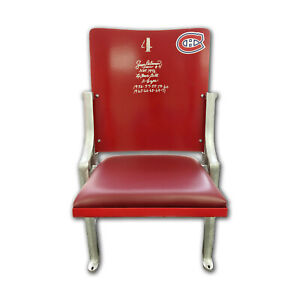 Montreal Forum Seat, Signed Jean Beliveau, 10 Cups Inscribed - Canadiens