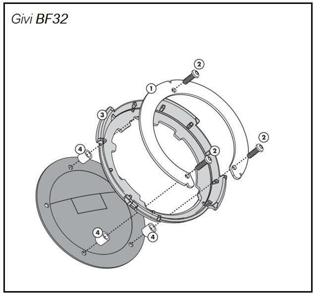 Set Bride Givi BF32 pour Sacs Réservoir Tanklock / Tanklocked Kawasaki Z1000