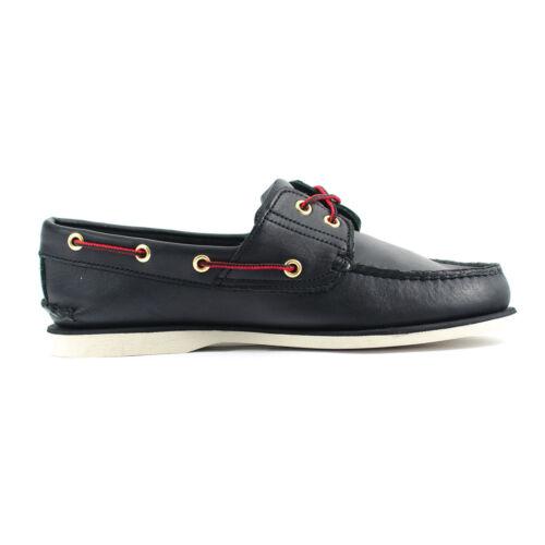 Cuero Zapato 2 Liso Clásico 1005r Timberland Hombre Ojos Negro Barco HPwa8Bq