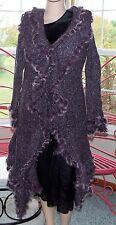 Pretty Angel Purple Cashmere,Wool Blend, Faux Fur, Long Cardigan Sweater. NWT M