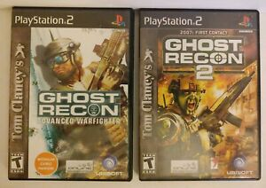 Lot-of-2-Ghost-Recon-Advanced-WarFighter-amp-Ghost-Recon-2-First-Contact-Sony-PS2