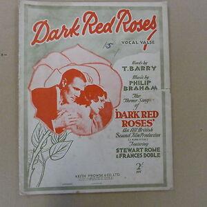 100% De Qualité Fond Rouge Foncé Roses Vocal Valse Stewart Rome + Framces Doble 1929-afficher Le Titre D'origine