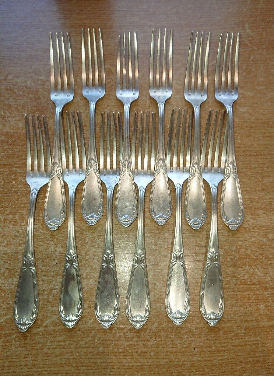 12 fourchettes en métal argenté   21,6 cm  décoration table