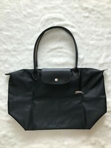 Details about France Made Longchamp Le Pliage Club Collection Large Tote  Black